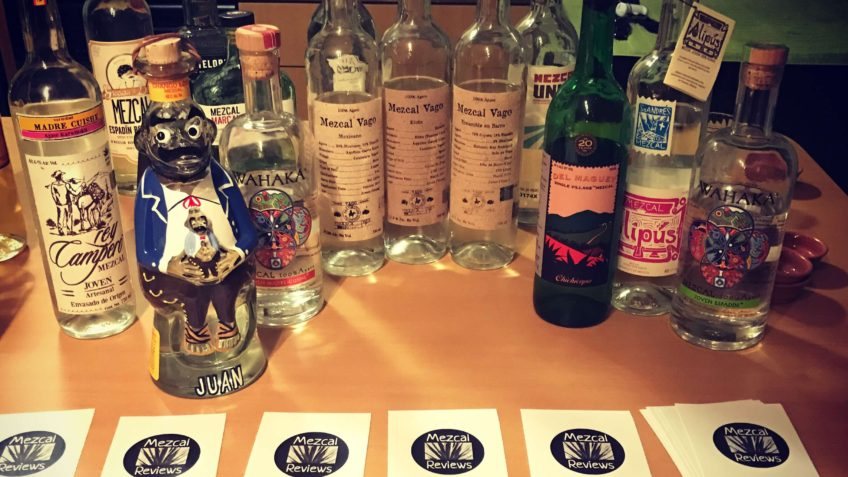 Selection of mezcals at the Mezcal Reviews launch party tasting
