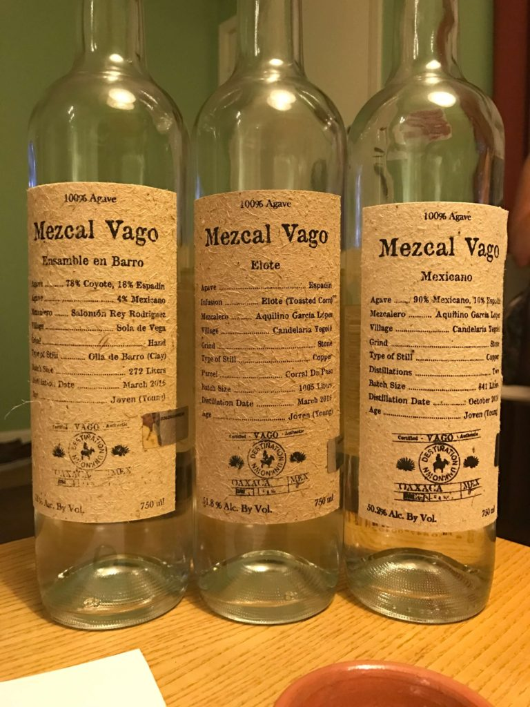 Mezcal Vago flight: Ensamle en Barro, Elote, and Mexicano