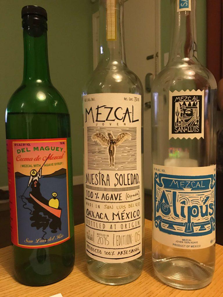 Del Maguey Crema de Mezcal, Nuestra Soledad San Luis Del Rio, and Alipus San Luis Mezcal