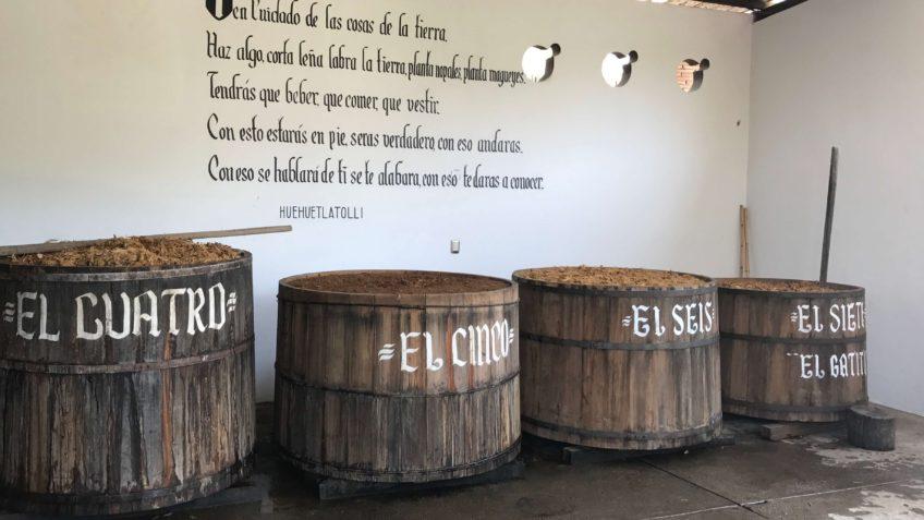 Mezcal Real Minero palenque fermentation vats