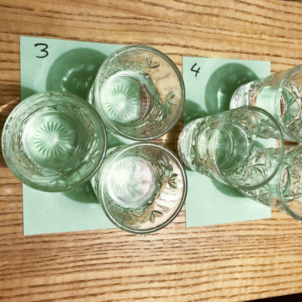 Mezcal blind tasting glassware and notecards