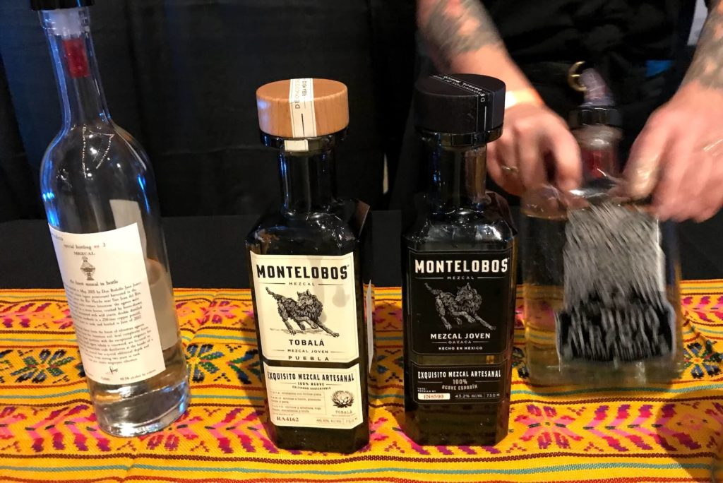 Various mezcals at Spirits of Mexico 2017