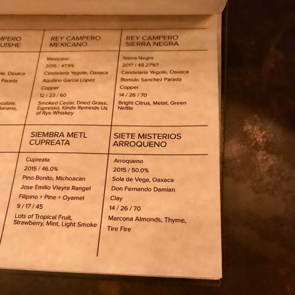 Espita Mezcaleria mezcal menu