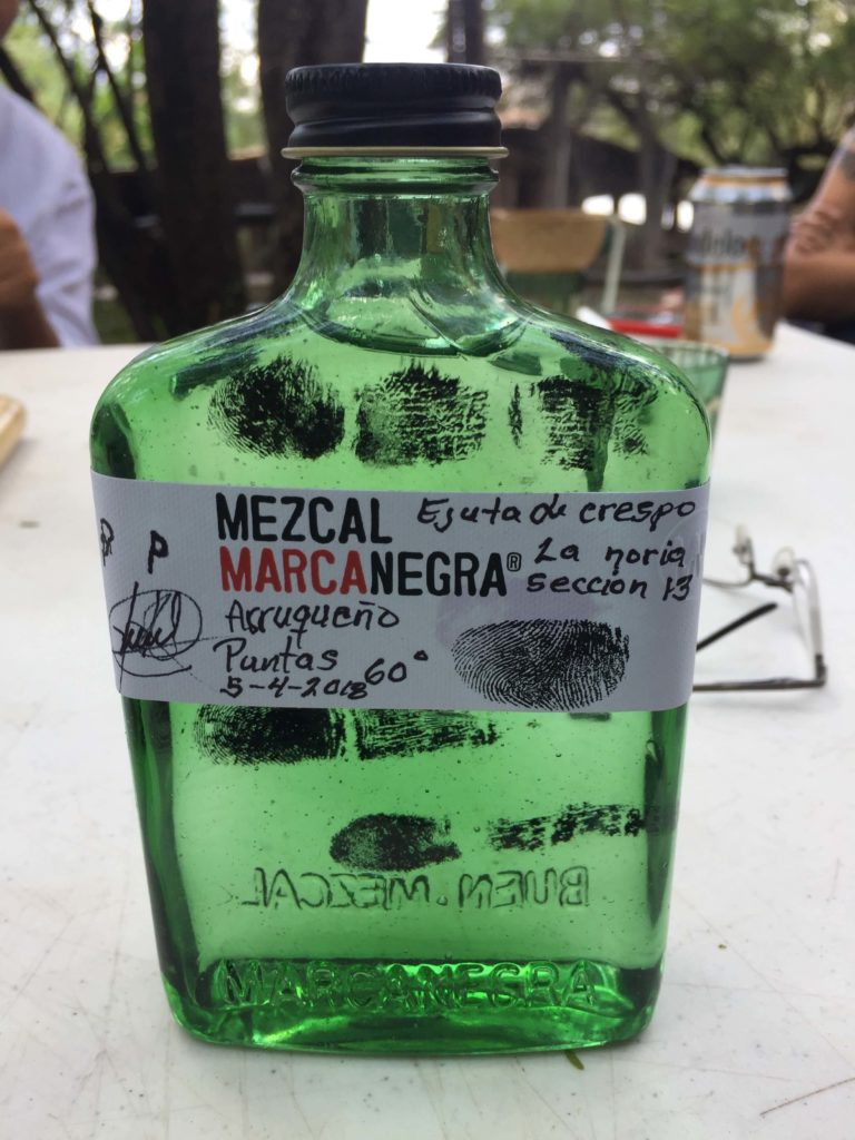 Bottle of Marca Negra at the Pacheco family palenque in Ejutla, Oaxaca, Mexico