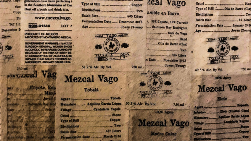 Vago Label Collage From Wall In Tasting Room