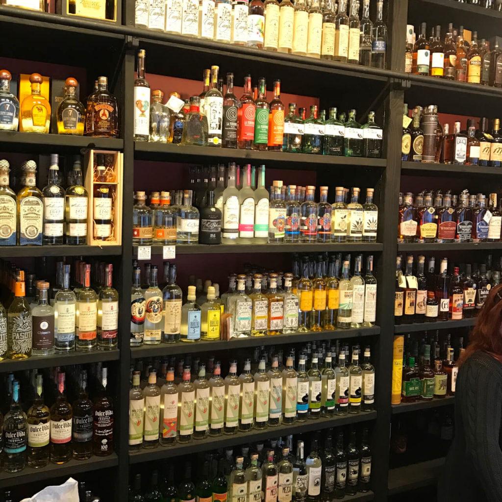 Mezcal selection at Healthy Spirits in San Francisco