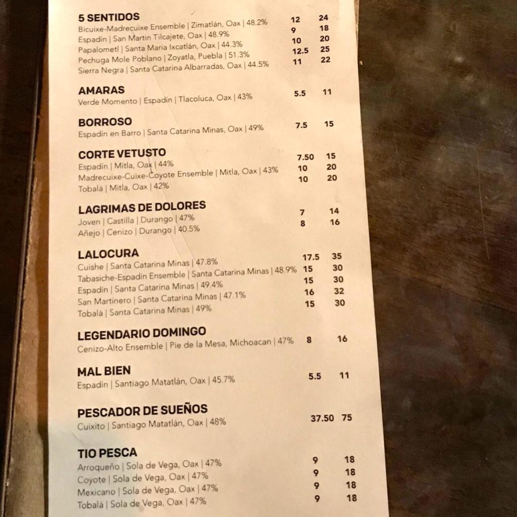 Special mezcal menu at Mosto San Francisco