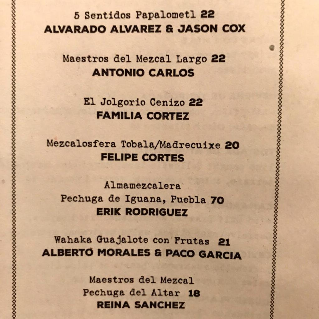 Special mezcal menu at Calavera in Oakland