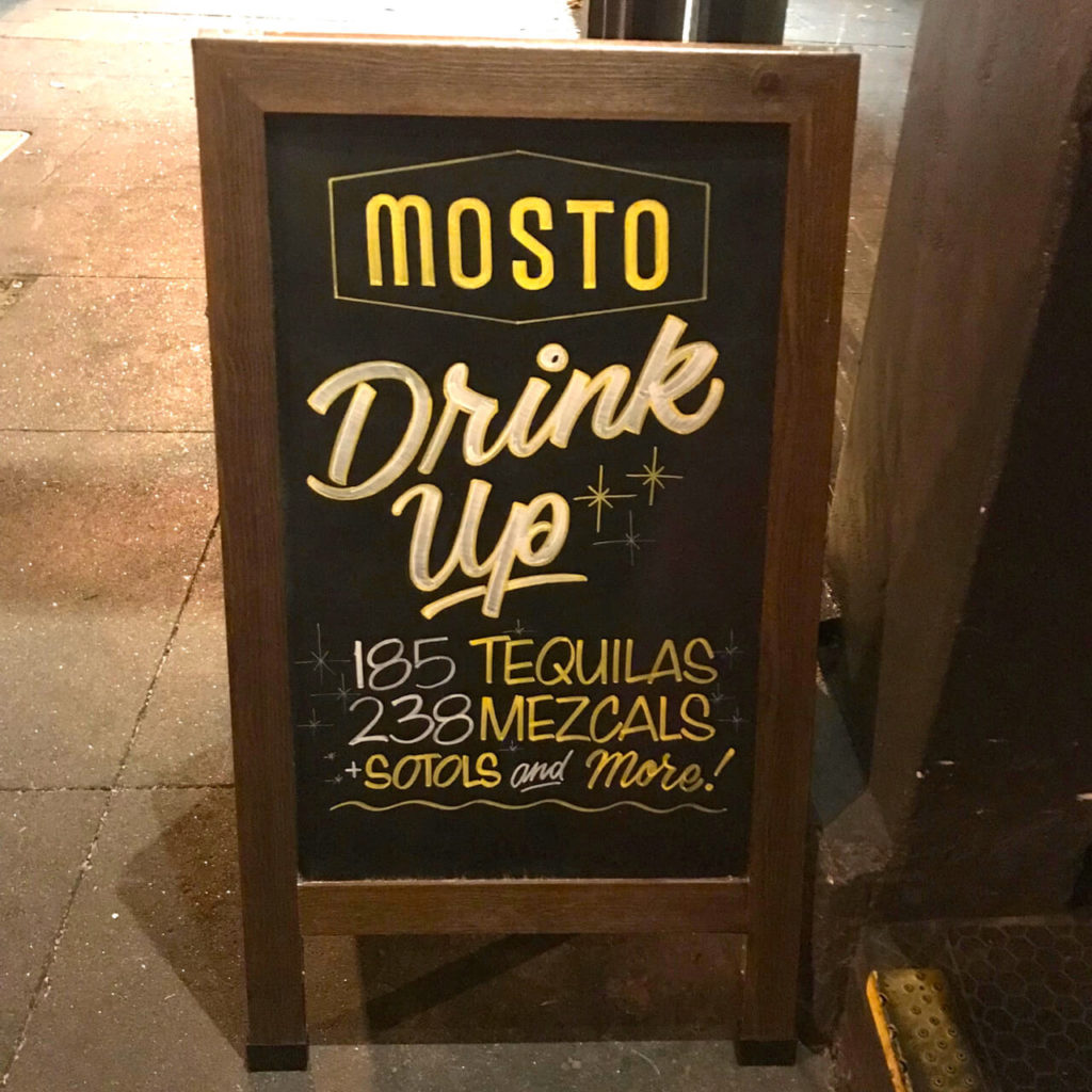Sign outside of Mosto in San Francisco