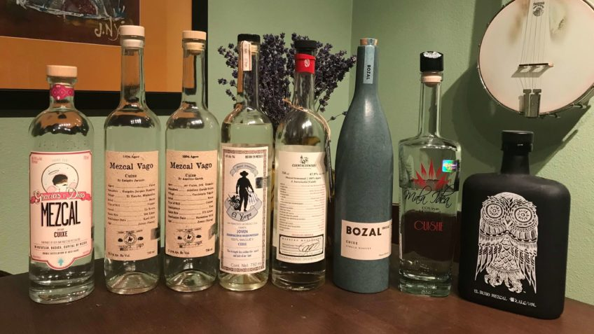 Mezcal Reviews Agave Cuixe Tasting bottles