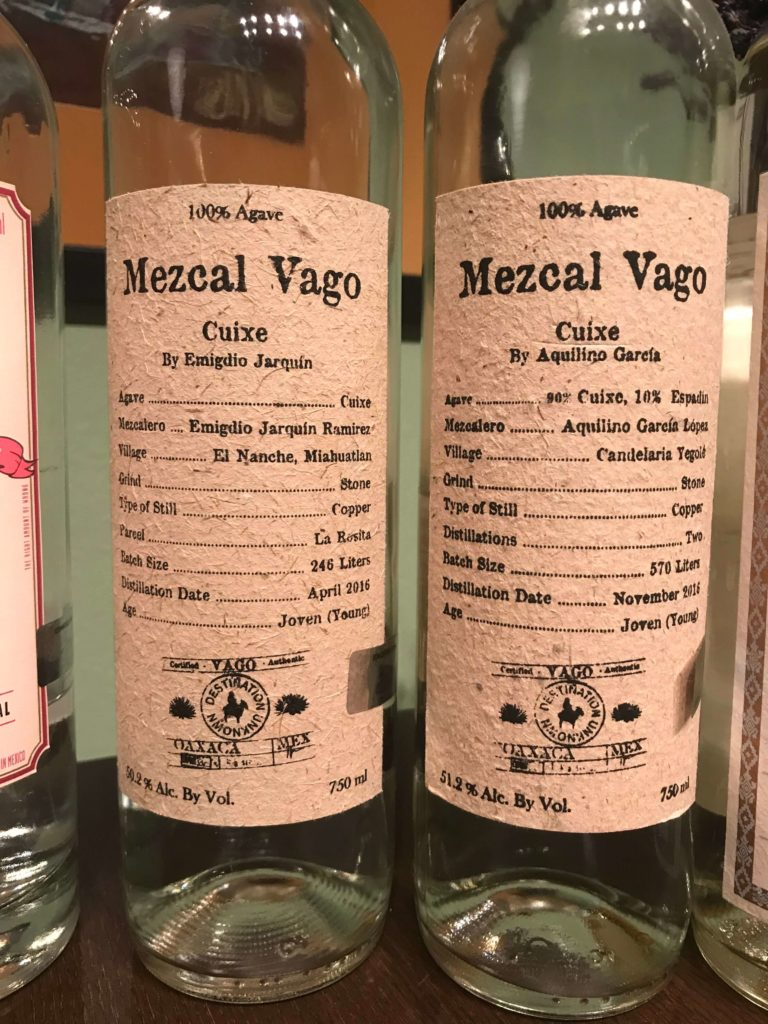 Mezcal Reviews Agave Cuixe Tasting - Vago bottles