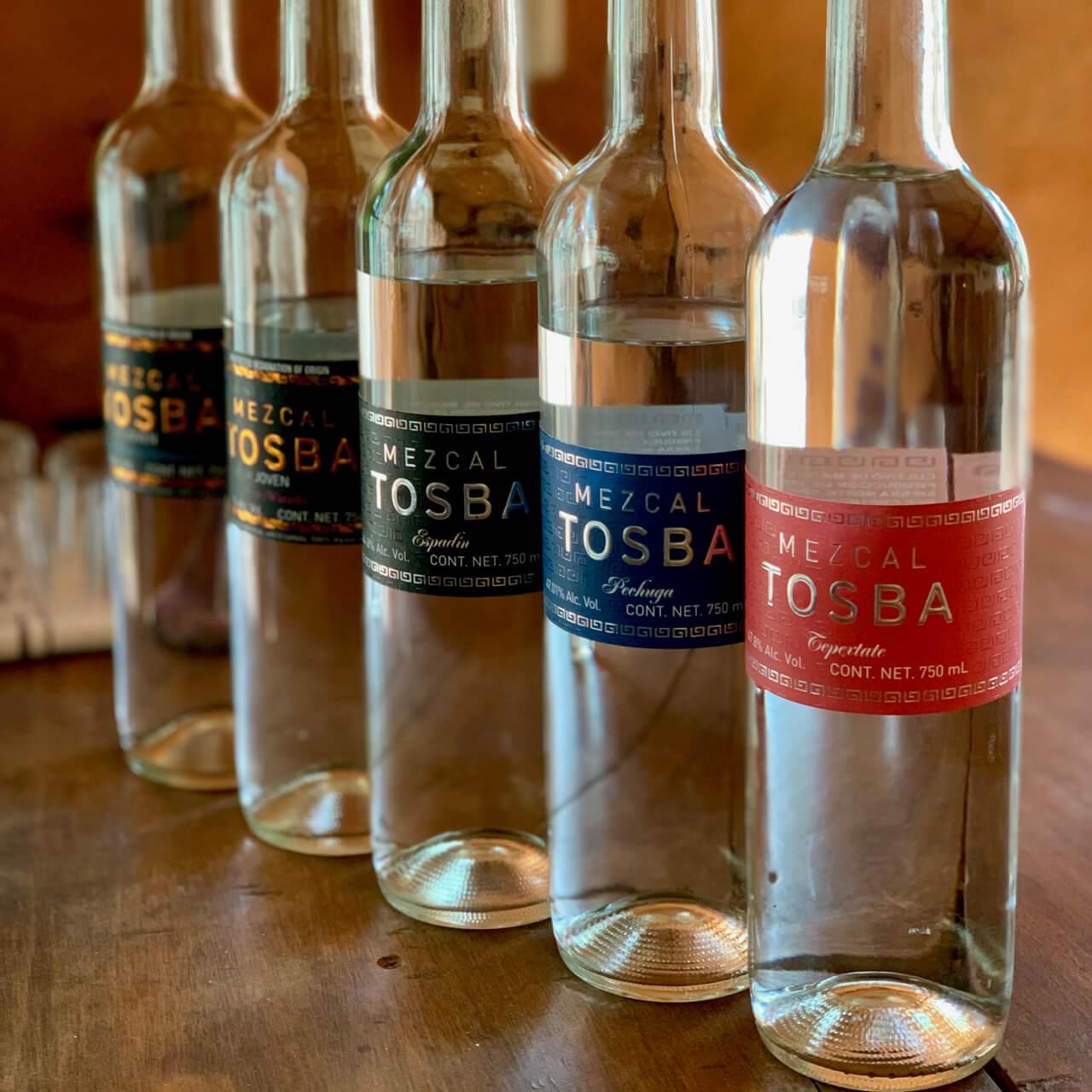 Mezcal Tosba bottles