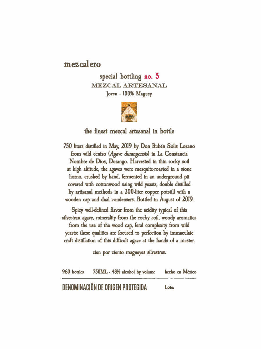 Mezcalero Special Edition No. 5 mezcal label
