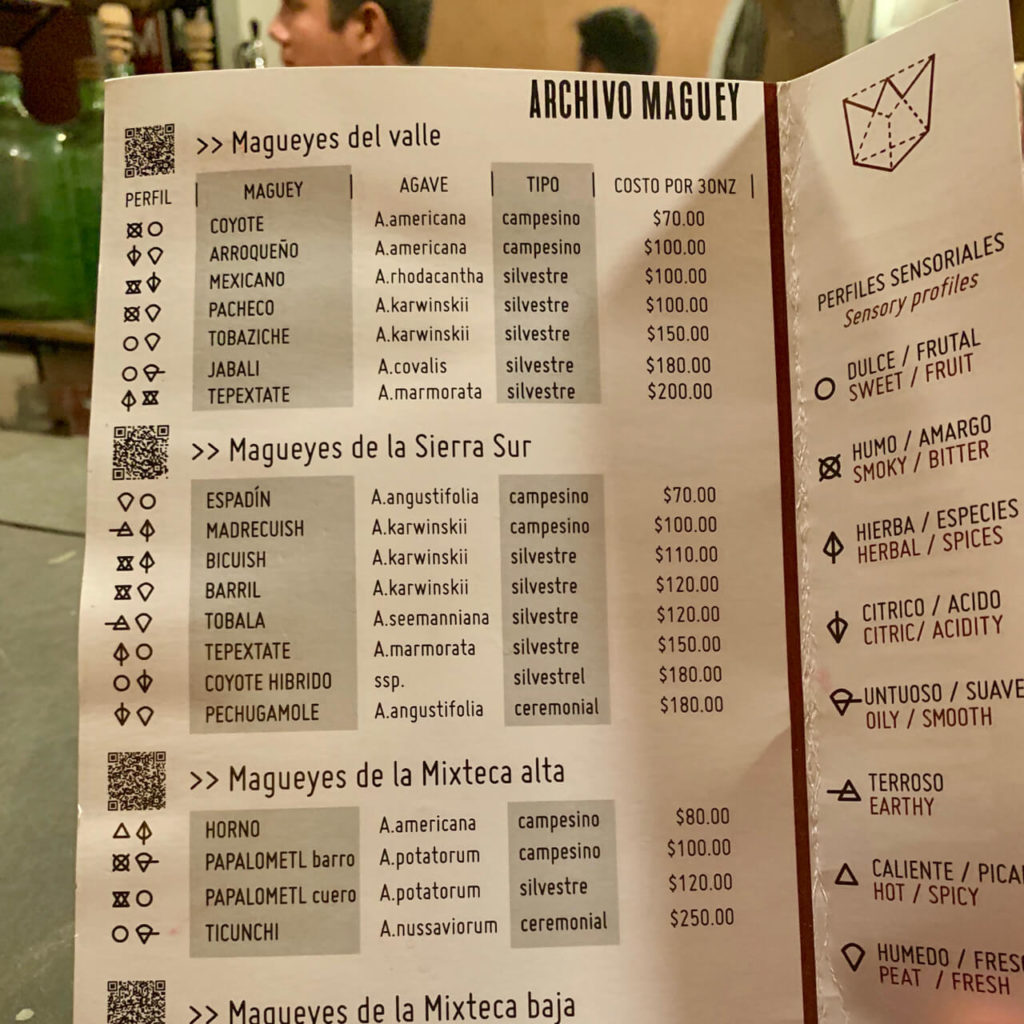 Agave spirits menu at Archivo Maguey
