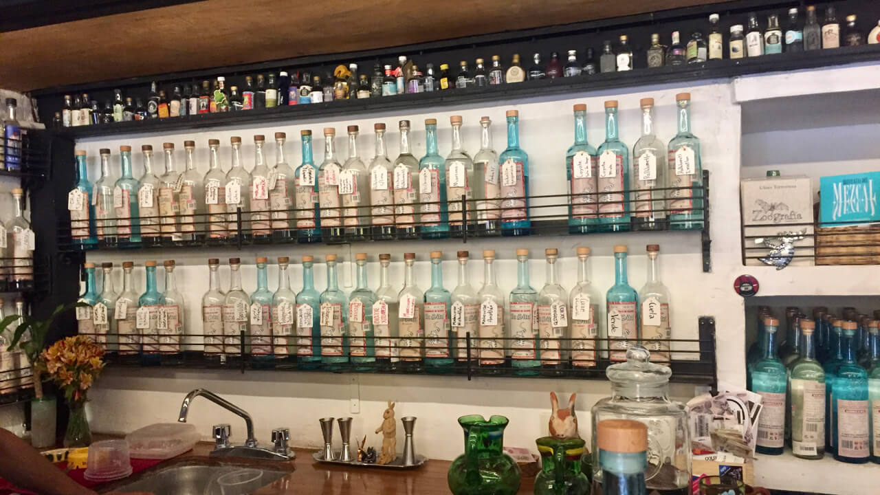 Large selection of mezcal at In Situ mezcaleria