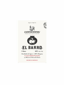 Cuentacuentos El Barro agave spirit bottle label