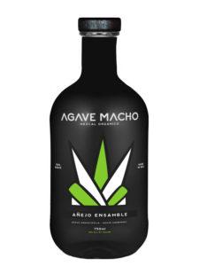 A bottle of Agave Macho Espadin-Cuishe ensamble añejo mezcal