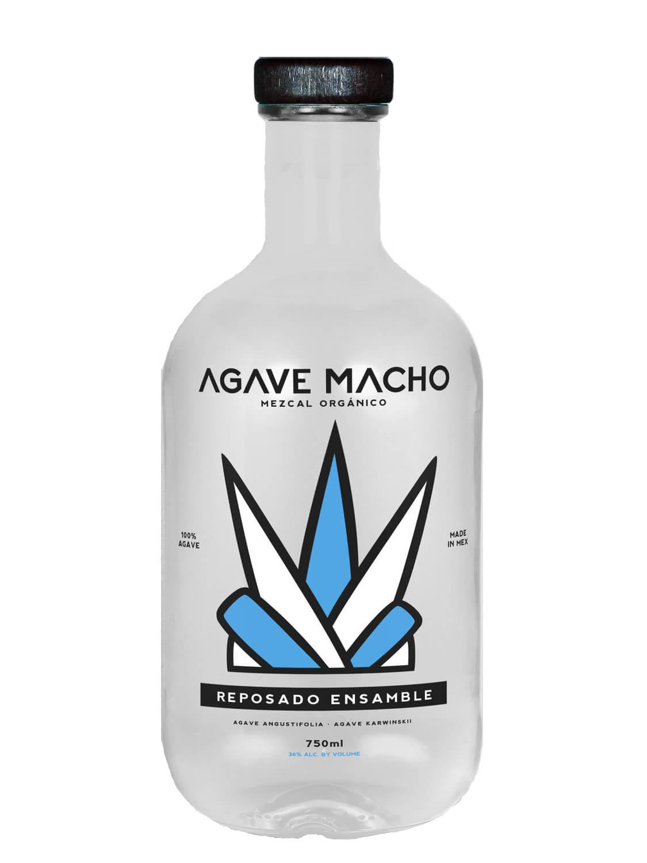 A bottle of Agave Macho Espadin-Cuishe ensamble resposado mezcal